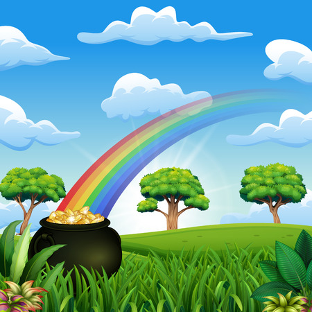Saint Patrick's Day pot of gold and rainbow on the nature Banque d'images - 118375135