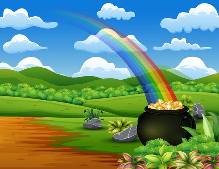Saint Patrick's Day pot of gold and rainbow on the nature Banque d'images - 118375139