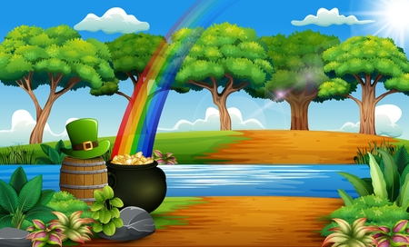 St Patricks day nature landscape with a pot of gold and rainbow