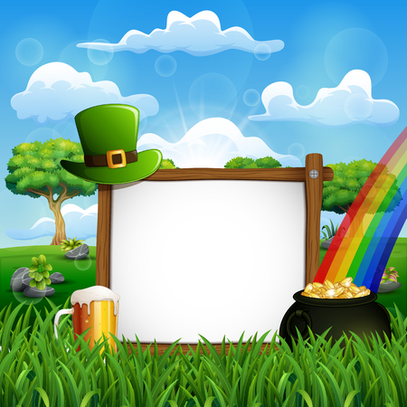 Saint Patrick's Day background with a wooden sign, green hat and gold coins in a cauldron