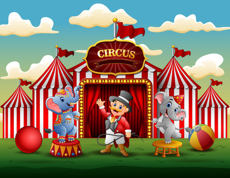 Circus show with trainer and two elephants
