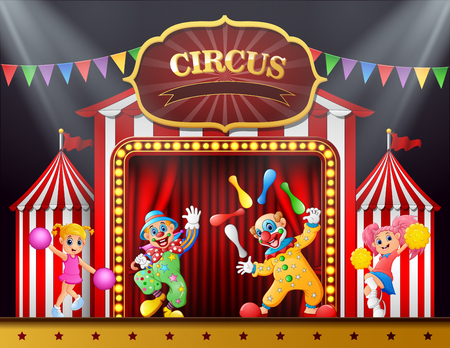 Circus show with clowns and cheerleader on the stage arena