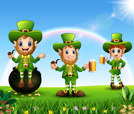 Happy Saint Patricks day celebration with leprechaun group