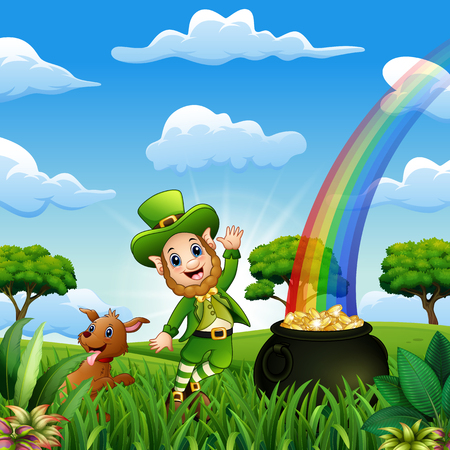St Patrick day leprechauns celebrate with a pet Banque d'images - 118494364