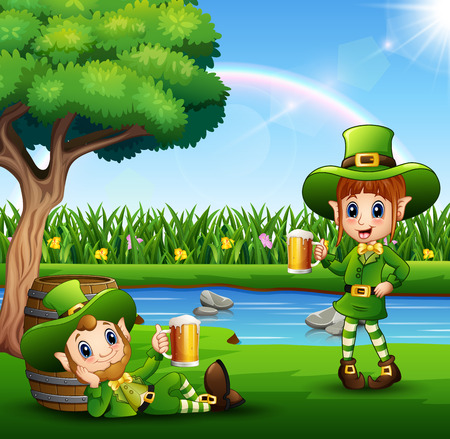 Cartoon leprechauns holding a beer in the park