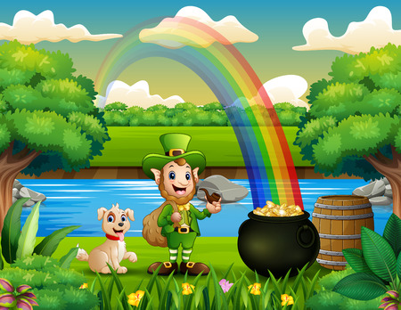 Leprechaun with a dog on the nature and rainbow landscape