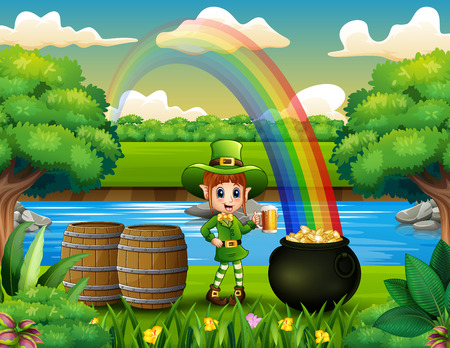 Leprechaun holding a mug beer on the nature and rainbow landscape Banque d'images - 118494929
