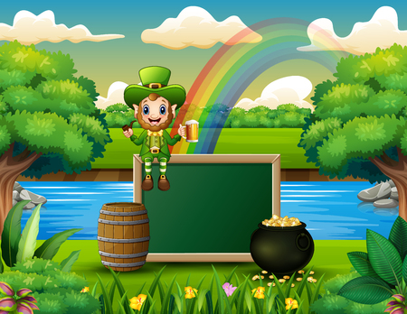 Cartoon leprechaun sitting above chalkboard with a nature landscape Illustration