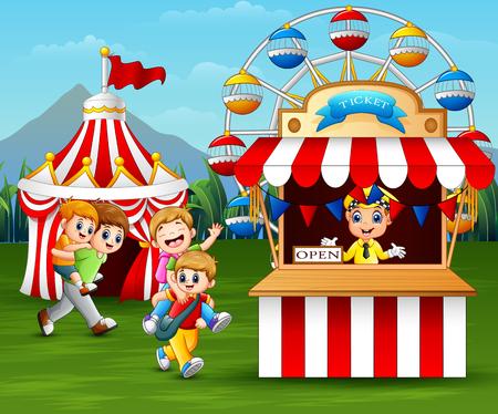 Happy children having fun in the amusement park