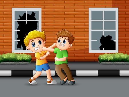 Dibujos animados de dos niños peleando en la carretera