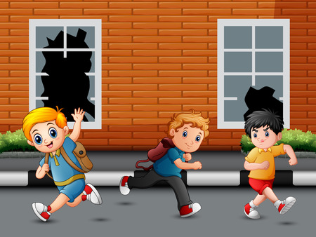 Happy children running and laughing on the road Ilustración de vector