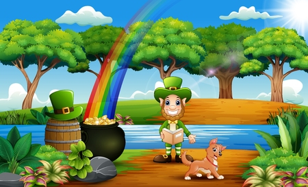 Leprechaun man with coin pot and hat on nature background