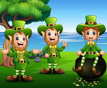 Leprechaun and Saint Patrick day characters with a pot of gold