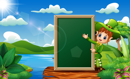 Leprechaun girl with a chalkboard sign on the nature Illustration