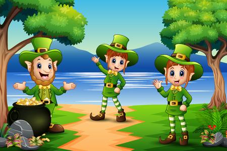 Happy Saint Patricks day celebration with leprechaun Ilustração