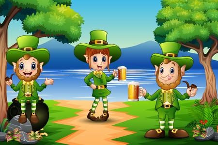 Saint Patricks Day Leprechaun Holding a beer Ilustração