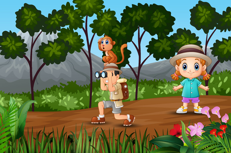 Boy Explorer with a girl in the forest
