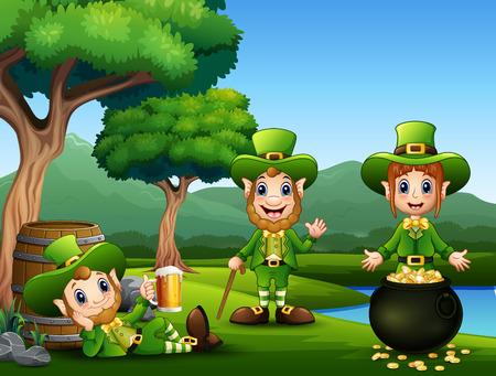 Happy Saint Patricks day celebration with leprechaun Ilustrace
