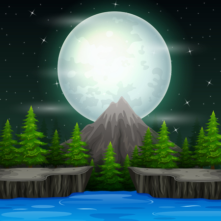 Beautiful nature landscape at night background  イラスト・ベクター素材