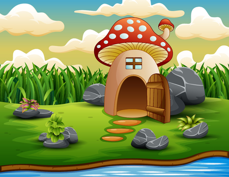 Enchanted mushroom house in nature background