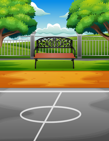 A bench on the edge of sports ground Illustration