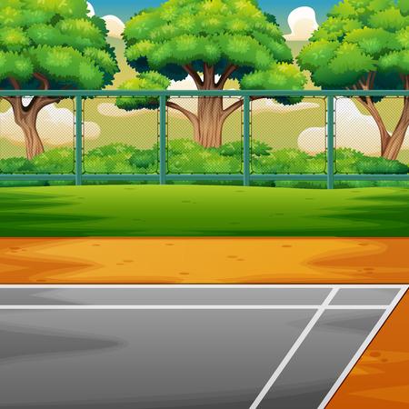 Cartoon sports ground on the nature