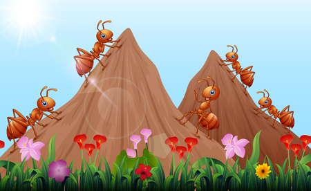 Colonie de fourmis de dessin animé avec fourmilière
