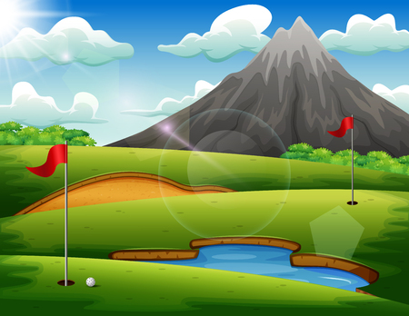 Golf course with beautiful landscape Illustration