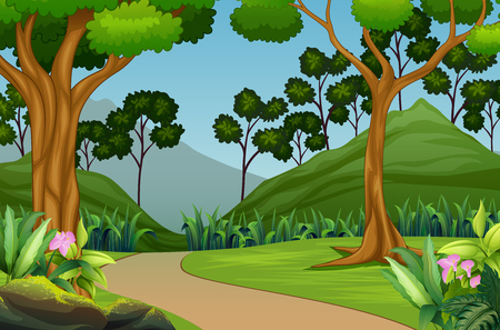Beautiful forest landscape with mountain background