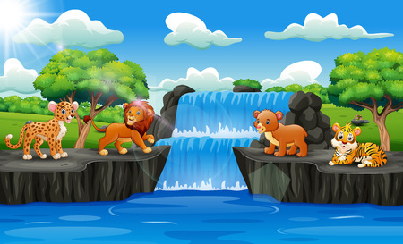 Cute animals with waterfall landscape