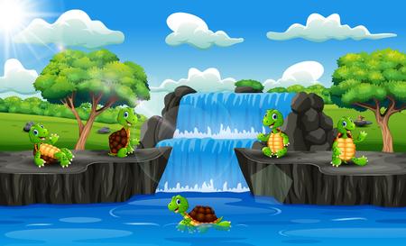Group of turtle cartoon in waterfall scene 向量圖像