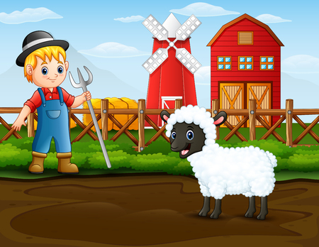 Farmer with a sheep in front of his barn