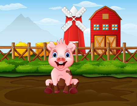 Cartoon bad pig in the farm background Illustration