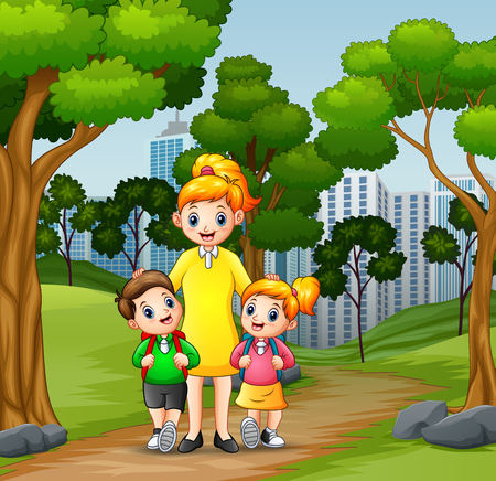 Happy children going to school with mom