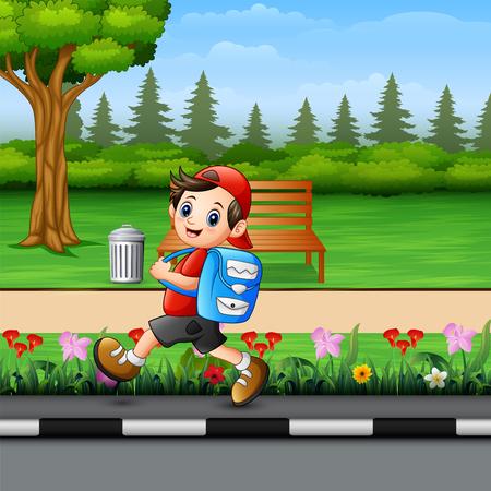 Cute school boy going to school pass through a park Ilustração