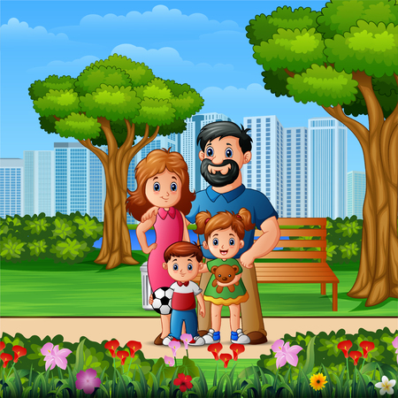 Funny cartoon family in the beautiful park