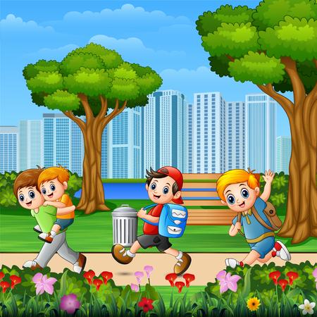 Happy children running in the park Stock Illustratie