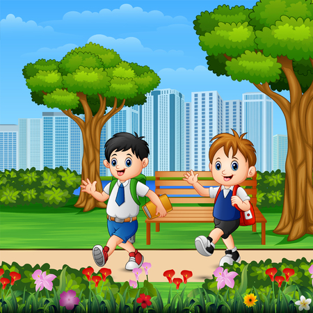 Two boys go to school through the park road