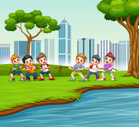 Happy Children playing tug of war in the city park Stock Illustratie