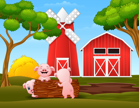 Happy three little pig playing logs in the farm Ilustrace