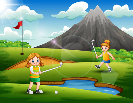 Cute girls playing golf in the court