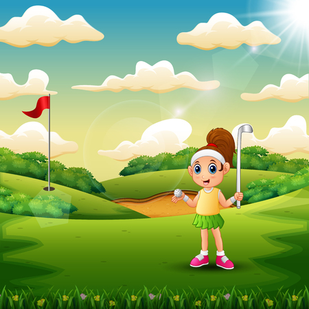 A girl playing golf in the court Illustration
