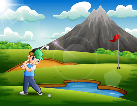 A boy playing golf in the beautiful nature Illustration