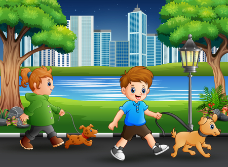 Childrens walking with their pets on the street Vectores