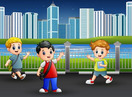 Happy school children at the city park Illustration