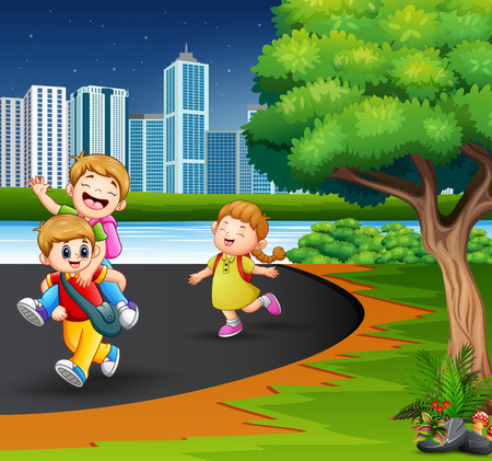 Happy children playing in the park road Illustration
