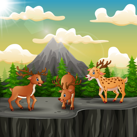 Three deer cartoon on the mountain a cliff Ilustração