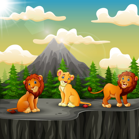 Three lion cartoon enjoying on the mountain a cliff Ilustração