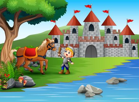 Little knight battling a horse in a castle landscape