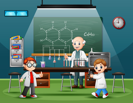 Scientist male in the laboratory room with childrens